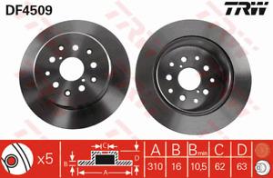 TRW Brake Rotor Rear DF4509S fits Lexus IS IS200 (GXE10R), IS300 (ASE30R)