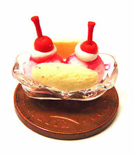 1:12 Strawberry Ice Cream Banana Split In A Glass Dish Dolls House Miniature BS6