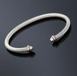 David Yurman Silver/18K Rose Gold 4mm Cable Classic Dome Cuff Bracelet Medium