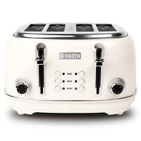 Haden Heritage 4 Slice Toaster Wide-Slot with Variable Browning Control - White