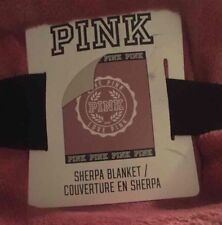 Victoria's Secret Pink Begonia Sherpa Blanket 60 x 72 BRAND NEW WITH BAND *RARE*