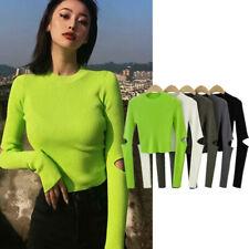 Women Knit Long Sleeve Crew Neck Casual Tops Knit Sweater Elbow Open Slim Shirt