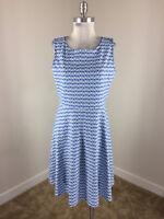 Talbots L Blue White Ponte Knit A Line dress Sleeveless Stretch Euc Career Work
