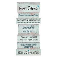 Plankenschild ZUHAUSE Familienregeln Shabby 15x32x0.6cm Spruchbild Mint MDFHolz