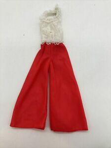 Vintage Barbie Outfit #7746 White Lace Red Palazzo Pant Jumpsuit 1974