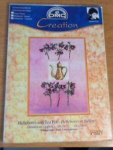 DMC Creation Hellebores and Tea Pot Flowers Printed Pink Cross Stitch Kit