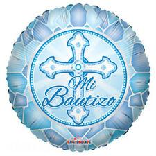 "Baptism Balloon 18"" Mi Bautizo Spanish Mylar Foil Blue Party Decorations Gifts"