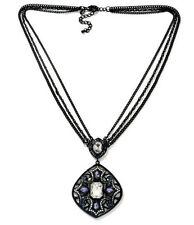 "NIB Real Collectibles by Adrienne® ""Antique"" Black Pendant-Blue & Clear Stone"