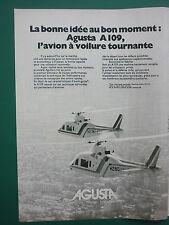 3/1977 PUB AGUSTA HELICOPTERE AGUSTA A109 HUBSCHRAUBER ORIGINAL FRENCH AD