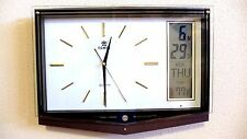 Office Melodies Wall Clock w/ LCD Display of Day, Date & Temperature -0537 White