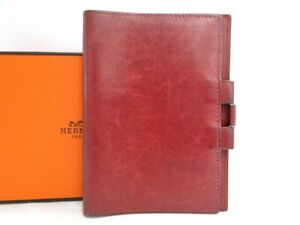 Auth HERMES Agenda Cover PM Day Planner Red Leather France $0 Ship 40170367600 P