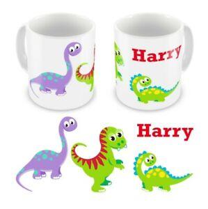 Personalised Children's Kids Printed Cute Dinosaur Mug / Cup Boxed **Any Name**