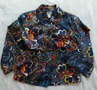 Chico's 0 US 4 S Cotton Blazer Women Art Floral Navy Blue Orange 3-Button Jacket