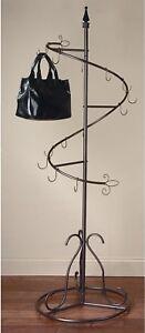 Brown Metal Classic Spiral Purse Tree Coat Rack Display Stand Storage