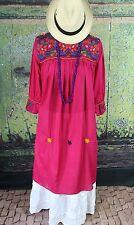 New Style Raspberry Pink Dress Mayan Chiapas Mexico, Hippie Boho Cowgirl Fiesta