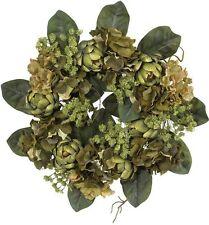 Nearly Natural 4628 Artichoke Wreath- 18-Inch- Green