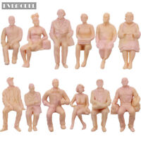 12pcs G scale Figures 1:25 All Seated Unpainted People Model Train Railway P2510