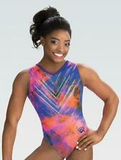 New listing NWT E3846 Watercolor Simone Biles GK gymnastics leotard spanglez scrunchie CM