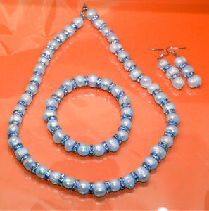 Natural Fresh Pearl Necklace Bracelet Earring Bride Prom Jewelry Set