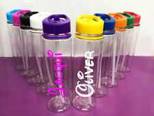 Personalised Custom Clear Water Drink Bottle Colour Lid Disney Name Gym Sport