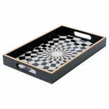 Rectangular Black and White Chequered Glass Serving Trays - 2 sizes available