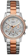 New Guess Ladies W0122L1 Multi Dial Crystals Stainless Two Tones Band Watch