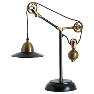Quirky Adjustable Table Lamp   Black & Brass   Brooklyn