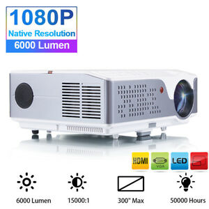 """6000 Lumens 1080p Native Home Theater Video Projector 4K 300"""" Max Image проектор"""