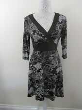 New Look dress size 14. Chocolate. With white floral print.