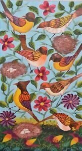 E. PIERRE-Haitian Folk Artist-Original Signed Acrylic-Birds, Branches, & Flowers