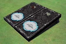 Dark Doodle Wedding Custom Cornhole Board
