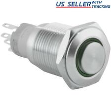 16mm Latching Push Button Power Switch Stainless Steel With Green Led Waterproof