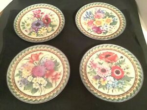 """4 Gloria Bayreuth Decorative Floral 7 1/2"""" Plates Germany Geneve Collection"""