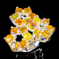 Beauty Rainbow4x4mm Natural Orange Opal 925 Sterling Silver Ring Size 7/R121856