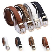 Ladies Women Fashion Skinny Thin PU Leather Waist Belt Free Shipping