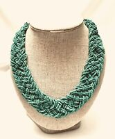 Vintage Braided Multi-Strands Turquoise Seed Beads Statement Necklace Hook Clasp