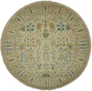 Muted Floral Vintage Style 8X8 Tree of Life Osh Chobi Oriental Round Rug Carpet