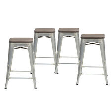 Set of 4 Bar Stools 24in Tolix Style in Galvanised w/Wooden Seats As Is