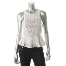 bagsclothesetc: NWT FASHION STAR White Lined Lace Peplum Top Blouse 12
