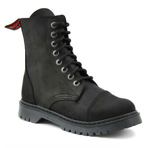 Angry Itch - 8-Loch Light AI08L/B/LE Vintage Black ohne Stahlkappe Boots Stiefel