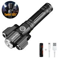 Ultra-Bright 3000 Lumens Twist 135° T6 Cree LED Rechargeable Flashlight 18650