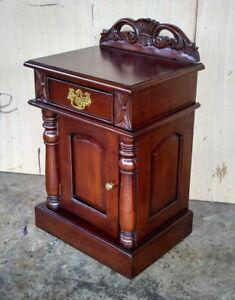 Night Table Console Solid Mahogany Colour Dark Brown Walnut