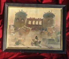 Antique 1965 Russian Uzbekistan Khiva Asia Islam Art Oil Painting Öl Malerei
