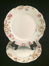 "Set of 2 Floral Superb Semi-Porcelain Mellor Taylor & Co 7-1/2"" Diameter Plates"