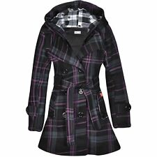Womens Belted Ladies Check Hood Coat Fleece Hooded Button Jacket Size UK8-14