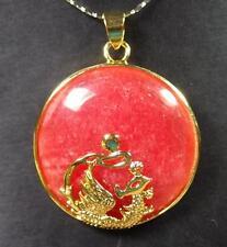 Gold Plate Red JADE Pendant Phoenix Cabochon Circle Donut Necklace  凤凰平安扣 286889