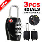 3x TSA Approved 4-Dial Luggage Locks Combination Padlock Travel Suitcase
