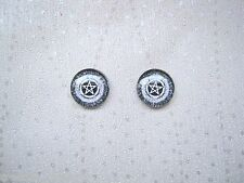 *PENTAGRAM STAR BLACK WHITE DOMED* Glass Stud 12mm SP Earrings Wicca Pagan