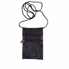 GHS Black Nappa Leather Neck Purse Pouch ID Window on Back Passport Mobile Phone
