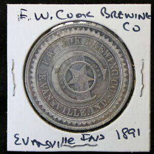 *RARE* F.W. COOK BREWING co 1891 HAPPY NEW YEAR EVANSVILLE, INDIANA